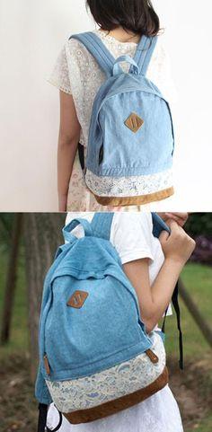 Fresh Denim Lace Student School Bag College Backpacks for big sale! #lace #denim #fresh #rucksack #backpack #Bag #schoool #college #fashion #travel #cute #student