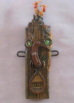 Metal Art Projects, Metal Crafts, Wood Crafts, Driftwood Sculpture, Metal Garden Art, Found Object Art, Funky Art, Masks Art, Recycled Art