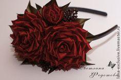 """Заколка """"Бордовые розы"""" с натуралными камнями - бордовый,розы,заколка с цветами"""