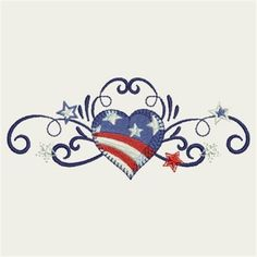 Sweet Heirloom Embroidery Design: Patriotic Border 1.61 inches H x 3.85 inches W