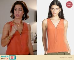 Marisol's orange zip front tank on Devious Maids Ana Ortiz, Devious Maids, Maid Outfit, Her Style, Net, Fashion Outfits, Orange, Tank Tops, How To Wear