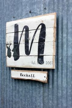 Custom Buck Doe Family Sign | Monogram Gift Pallet Hunting Family | Reclaimed Wood Wall Hanging |Man's Gift | Anniversary Gift for Couple