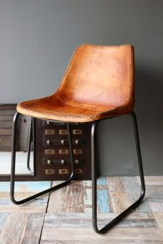 Industrial Leather Dining Chair - Brown with Black Legs