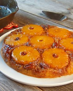 Pineapple Upside-Down Cake -- This old-fashioned cake is traditionally made in a cast-iron skillet