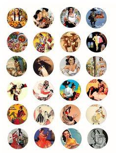 Mexican cuban Spanish Latin Women men Flamenco Dancers mexico travel posters clip art collage sheet 1.5 inch circles. $2.25, via Etsy.