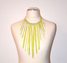 Yellow leather necklace with silver chain and fringes