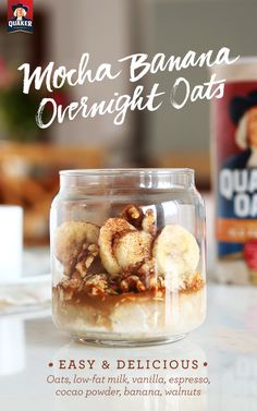 It only takes 3 steps to make Quaker® overnight oats! With Mocha Banana Overnight Oats, you'll never have a disappointing Fall morning. Try a quick, easy recipe that you can grab on your way out of the door in the am.