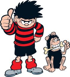 Dennis the Menace and Gnasher. Kids Cartoon Characters, Cartoon Kids, Disney Drawings, Cartoon Drawings, Dennis The Menace Cartoon, Cartoon Wall, Meme Pictures, Comic Character, Betty Boop