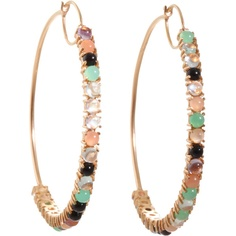 Irene Neuwirth Mixed Gemstone Medium Hoop Earrings ($6,030) ❤ liked on Polyvore