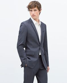 ZARA - MAN - BLUE BLAZER WITH PIPED LAPEL