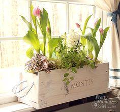 Wine crate turned indoor garden flower planter, Pretty Handy Girl