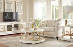Tower Suite Contemporary Marbleized Pearl Wood Coffee Table Set
