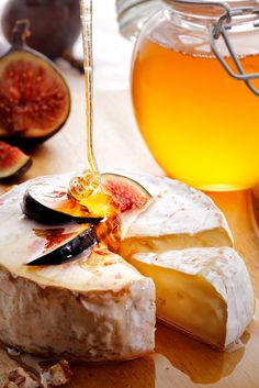 Brie Cheese with Figs and honey Art Print by Johan Swanepoel Best Cheese, Meat And Cheese, Wine Cheese, Baked Bree Recipe, Cheese Platers, Meat Platter, Creative Food, Brie, Wine Recipes