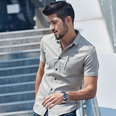 Designer Shirt Patchwork Zipper – $44.53 Find this and much more at MARTINZ  - http://MartinzClothing.com/ #mensclothing #top #shirts #shortsleeve #shopaholic #shoppingday #shoppingtime #shopping #shoponline