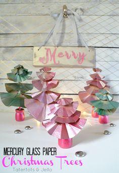 mercury glass paper christmas tree tutorial DIY at tatertots and jello