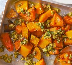 For a delicious side dish, roast butternut squash until caramelised and scatter with pistachios and thyme to serve Veggie Recipes, Appetizer Recipes, Vegetarian Recipes, Party Recipes, Pumpkin Recipes, Appetizers, Healthy Recipes, Puy Lentil Salad, Vegeterian Dishes
