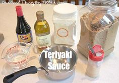 Homemade Teriyaki Sauce: 1 1/2 C. water, 3/4 C packed brown sugar, 1/2 C soy sauce, 1 tsp garlic powder, 3 Tbs corn starch, 1 tsp sesame oil. Mix/stir over medium heat on stove until thickened.