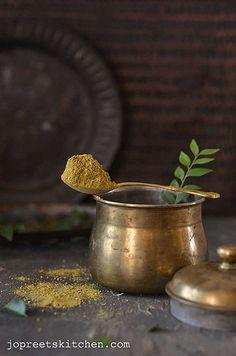 Karuveppilai Paruppu Podi (Curry Leaves & Dal Powder)  http://www.jopreetskitchen.com/2013/11/karuveppilai-paruppu-podi-curry-leaves.html