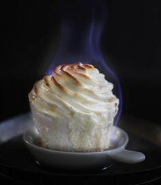 Flaming Baked Alaska Cupcakes