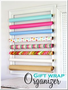 gift wrap organizer using curtain rods