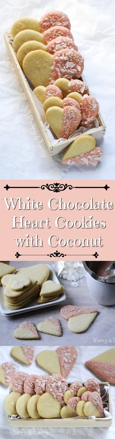 Surprise a loved one with this super easy recipe for Chocolate Heart Cookies with desiccated coconut. You can use white chocolate and just colour it pink :)
