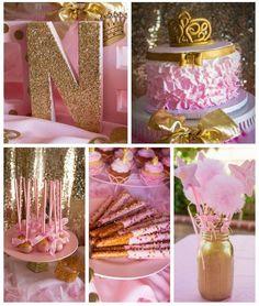 Baby Geburtstag dekorationen-rosa-gold-farben