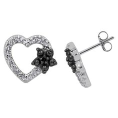 Women's Sterling Silver Accent Round-Cut Black Diamond Open Heart Earring
