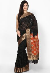 Black Cotton Blend Saree. If you are looking for a classy saree, then this black coloured saree from Bunkar will surely appeal to you at a single glance. Made from cotton blend, this saree is easy to drape and comfortable to wear. Team this Banarasi saree with a necklace set and look graceful. Furthermore, this saree measures 5.5 m and comes with a 0.8 m blouse piece.