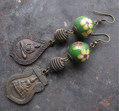 Assemblage Cloisonne Beads w/ Brass Buddha Charms Dangle Earrings Vintage Components. $22.00, via Etsy.