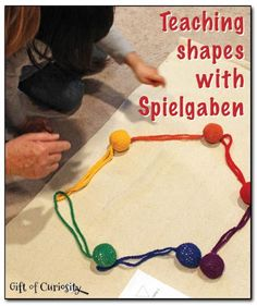 Teaching shapes with the Spielgaben balls and strings, plus a free printable you can use to teach shapes to your kids    Gift of Curiosity