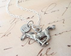 Silver Wildfire Galloping Horse Charm Necklace  by lucindascharms, $16.50