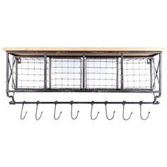 This distressed Black Metal & Wood Shelf with Baskets & 2-Hooks wil includes 8 hooks and 4 baskets.. Great for your COFFEE / TEA BAR