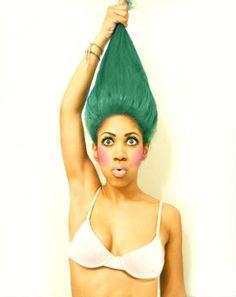 Troll Doll Costume + Green Hair #rheacarter