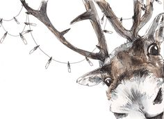 Christmas Reindeer Card 31 sleeps until Christmas! Available in our Etsy shop - SNOWTAP Xmas Drawing, Christmas Drawing, Christmas Paintings, Christmas Raindeer, Christmas Animals, Christmas Art, Art And Illustration, Raindeer Drawing, Animal Drawings