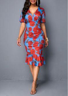 Bodycon Dresses Short Sleeve Frill Hem V Neck Sheath Dress Latest African Fashion Dresses, African Print Fashion, Women's Fashion Dresses, Fashion Clothes, Jojo Fashion, African Attire, African Dress, Dashiki Dress, Vestidos Sexy