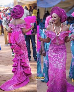 Hey Ladies & Gents, Who doesn't love the way traditional weddings are filled with playful banter, varieties of food, vibrant colours and more? We cannot deny the fact that the Yoruba traditiona… African Lace Styles, African Lace Dresses, African Wedding Dress, African Fashion Dresses, African Style, African Clothes, Nigerian Wedding Dresses Traditional, Traditional Dresses, African Attire