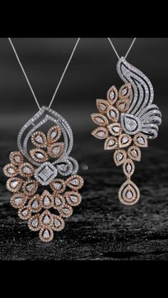 This beautiful diamond pendant set comes in 18 k gold. Set in rose and white gold, this intricate design is embedded with 'VVS clarity and EF color' diamonds. A perfect fit for all your festive wardrobe. Gold Pendent, Pendant Set, Diamond Pendant, Pendant Jewelry, Diamond Jewelry, Diamond Tops, Jewellery Sketches, Diamond Brooch, Gold Set
