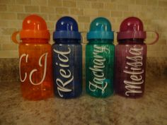 This is for a pack of 6 names. inch names of your choice. Leave color and names information in message box at check out. Art Supply Box, Personalized Baby Shower Gifts, Font Names, Party Packs, Etsy Store, Vinyl Decals, Party Supplies, Hanger, Water Bottle