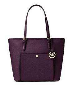 MICHAEL Michael Kors Jet Set Item Large Top Zip Pocket Tote (Large, Damson)