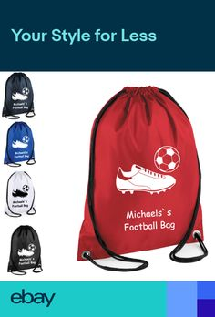 52d41bacd7ee PERSONALISED Drawstring Bag FOOTBALL Trainers School Gym Shoes PE Kit Sport  kids