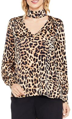 Vince Camuto Satin Leopard Print Choker Blouse In Rich Black Fashion To Figure, V Neck Blouse, Chiffon Shirt, Vince Camuto, Blouses For Women, Chokers, Long Sleeve, Batwing Sleeve, Clothes