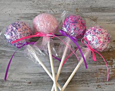 Pink and Purple cake pops...will most likely order from the Cake Pop Co..so much easier.