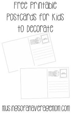 Free printable postcards for kids to decorate
