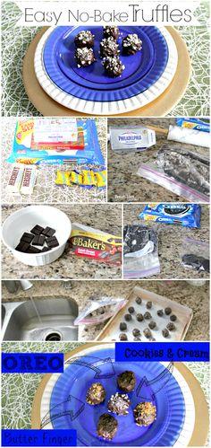 Easy No-Bake Cookies & Cream, Butter Finger, OREO Truffles Truffles Easy No Bake, Oreo Truffles Recipe, Easy No Bake Cookies, Truffle Recipe, Recipe Recipe, Party Desserts, Cookie Desserts, Dessert Recipes, Cream Butter