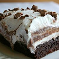 Brownie Refrigerator... This is almost like my Yum Yum Desert recipe, except the bottom layer is a brownie instead of a cookie crust. I have got to try this!!!!!