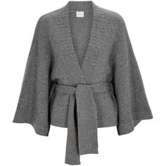 Le Kasha Iwikara Grey Cashmere Cardigan - Size One Size ($1,060) ❤ liked on Polyvore featuring tops, cardigans, grey cashmere cardigan, cardigan top, tie waist cardigan, grey open front cardigan and open front tops