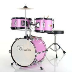 Barcelona Three-Piece 12-Inch Kid's Drum Set - Pink by Barcelona. $109.95. Fun and cute at the same time, Barcelona's three-piece kid's drum set is the perfect size for children between the ages of three and five years old. The drum set comes packaged with everything your child needs to get rockin' right away -- a drum throne, bass drum pedal, crash cymbal, and pair of sticks. Manufactured with an emphasis on durability, it's made to withstand a heavy beating. Noteworthy fe...