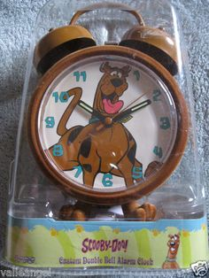 NEW! collector's COLLECTOR'S SCOOBY DOO TWO BELL CLOCK,HARD 2 FIND,BOXED.FreeS/H