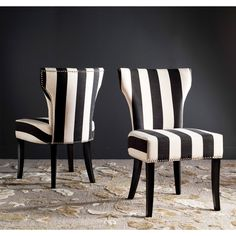 Safavieh's pair of Matty dining chairs offer a classic and timeless elegance. Dazzlingly designed with black and white stripes, further charm is evoked through these chairs' birchwood top frame and le