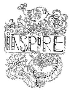 Inspire Words Coloring Page